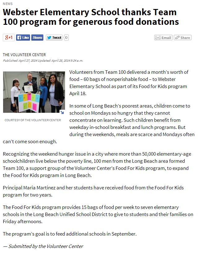 Long Beach Register April 28 2014 Webster Elementary School thanks Team 100 program for generous food donations