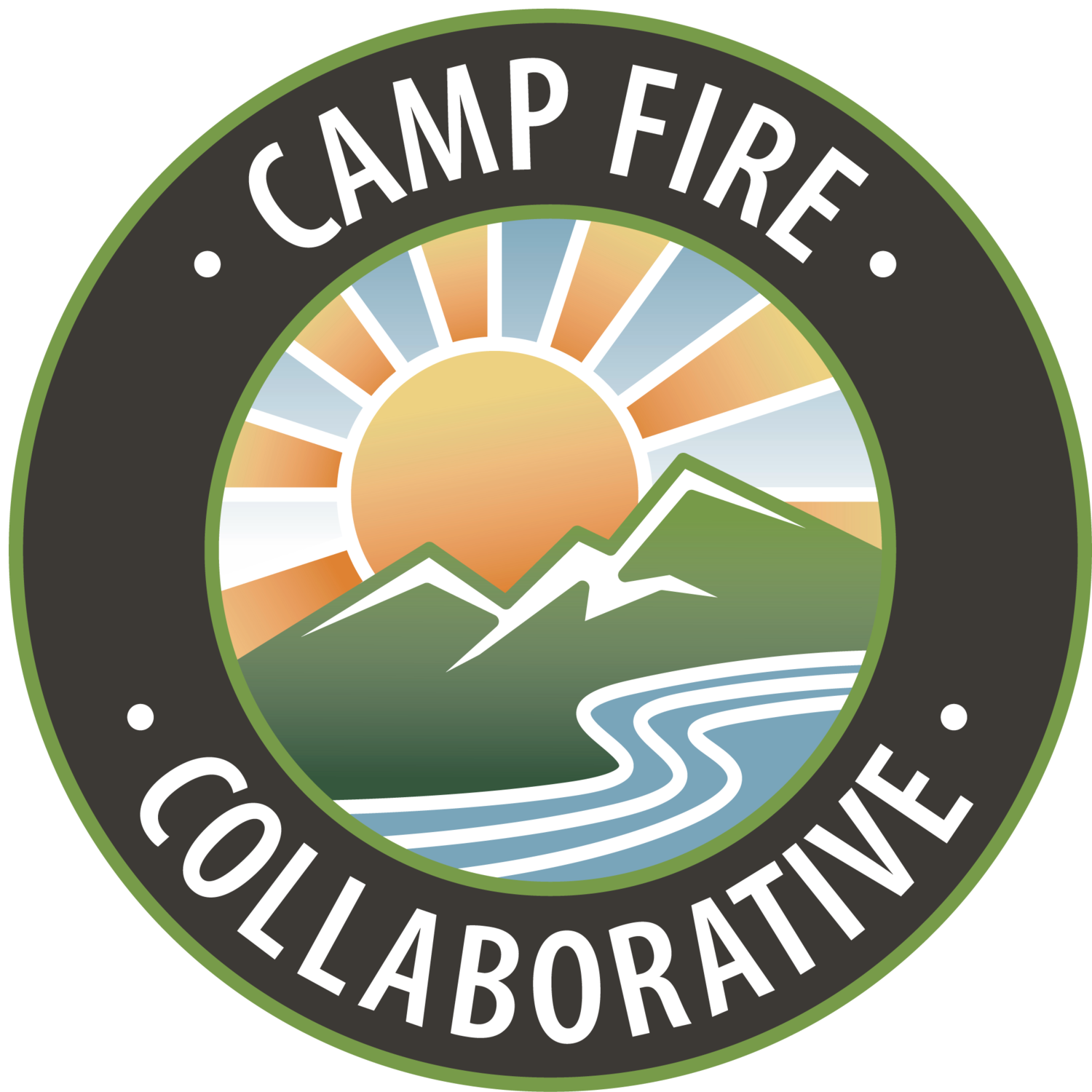 camp fire long term recovery group logo with river and mountains